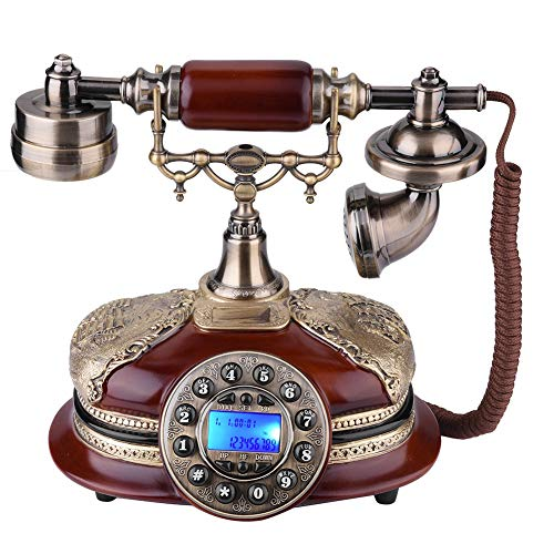 Antique Telephone, Creative Digital Vintage Telephone Classic European Retro Landline Telephone Corded Hanging Headset Home Hotel Office Decor from Zerone