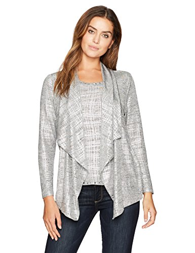 Ruby Rd. Women's Brushed Foil Printed Heather Jersey 2-Fer Twinset, Silver Combo, - Print Tunic Ruby