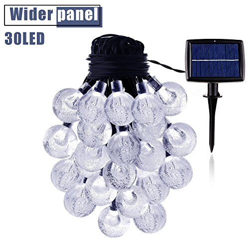 String Lights Solar Power 20 Feet with 30 LED Crystal Ball Super Bright Waterproof Indoor Outdoor for Christmas Garden Home Party Wedding Holiday Decorations(Cool White)