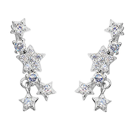 [EleQueen 925 Sterling Silver Cubic Zirconia Shining Star Ear Vine Crawlers Sweep Wrap Cuff Hook Earrings 1] (The Shining Couple Costume)
