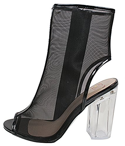 Delicious Womens Ope Toe Mesh Block Chunky Clear Perspex Heel Ankle Boot Bootie Black Pat JdEtDx0vb