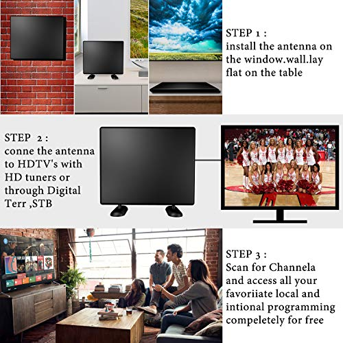 TV Antenna, HD Indoor Digital TV Antenna with Amplifier Free Signal Booster 4K 4K Free Local Channels for Long 80-120 Miles Range, 13ft Coax Cable