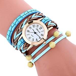 luquan eyes-catching Bling envolver tejido trenzado pulsera Dial cuarzo muñeca analógico reloj