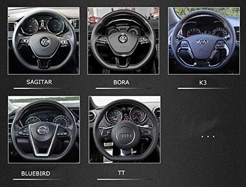 ANNIGI D Forme Volant Noir Auto Couvre Volant En Cuir Rev/êtement de roue 38CM Accessoires int/érieurs