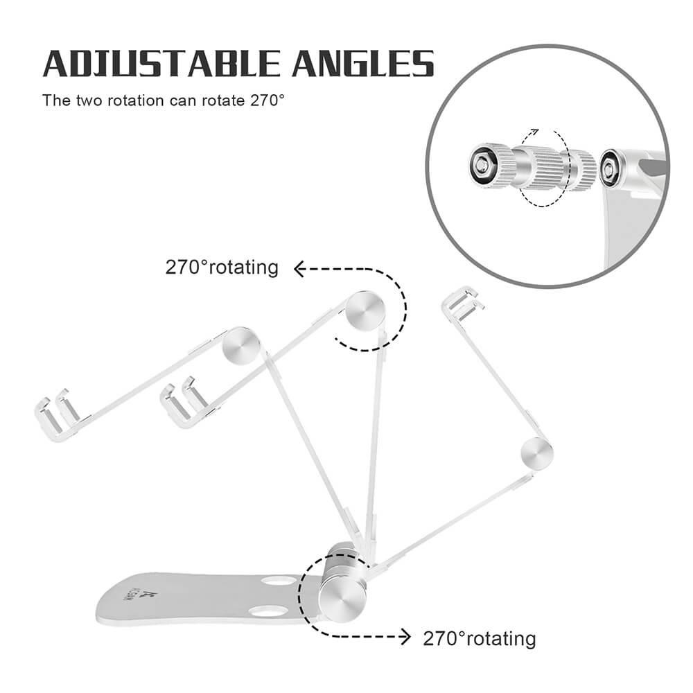 ACGAM 3-1 Soporte Plegable portátil Multi-ángulo Soporte de Aluminio Ajustable del teléfono Celular para 4-13 Pulgadas iPad, cojín del iPhone ...