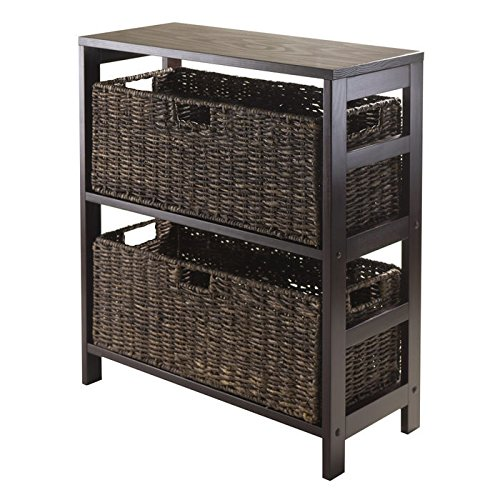 Granville 3 Tire Storage Shelf with 2 Large Baskets, Espresso by Winsome Wood