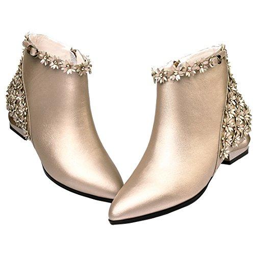 a9c80f7a1b0e3a AIYOUMEI Damen Leder Flach Stiefeletten mit Schnalle und Blumen Bequem Ankle  Boots Gold ...