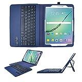 IVSO Samsung Galaxy Tab S2 9.7-Inch Bluetooth Keyboard Portfolio Case - DETACHABLE Bluetooth Keyboard Stand Case / Cover for Samsung Galaxy Tab S2 9.7-Inch Tablet(Blue)