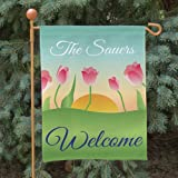 "Double Sided Personalized Spring Tulips Garden Flag, 12 1/2"" w x 18"" h, Polyester For Sale"