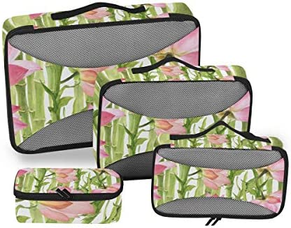 ピンクロータスグリーンバンブー荷物パッキングキューブオーガナイザートイレタリーランドリーストレージバッグポーチパックキューブ4さまざまなサイズセットトラベルキッズレディース