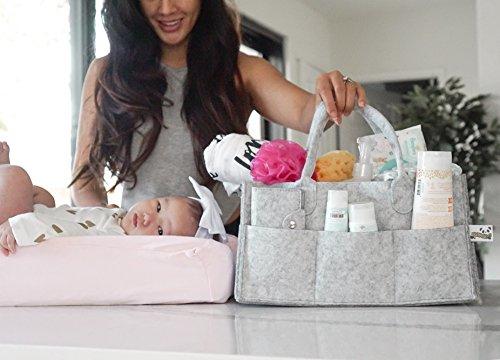 Baby Diaper Caddy Organizer Bonus Card Holder Nursery Storage Bin for Diapers