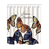 NYMB Fashion Butterflies Dance Bath Curtain, Polyester Fabric Waterproof Shower Curtain, 69X70 in, Shower Curtains Hooks Included, Blue White(Multi15)