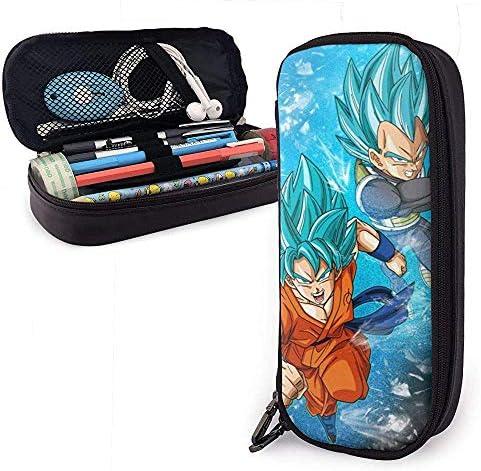Estuche de lápices de cuero de diseño de anime Caja de papelería escolar Estuche de maquillaje personalizado de Dragon Ball Goku y Vegeta: Amazon.es: Oficina y papelería