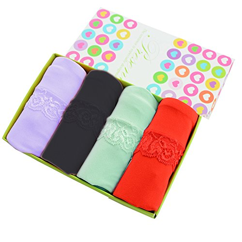 Fibra de bambú señoras Underwear underwear de gran tamaño con cintura shorts 4pcs,G,M Greatlpk a