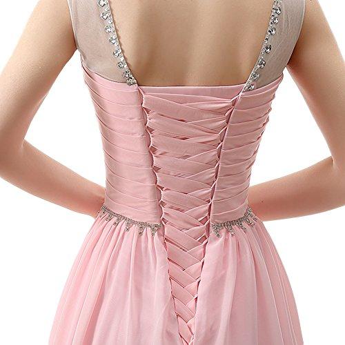 Ball Frauen Rosa Sheer Line Kristall Rückenfrei Pailletten Pink A Gerüscht Chiffon engerla Träger Kleid vdx7wv