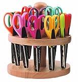 ECR4Kids Kraft Edger Decorative Craft Scissor Set - 18 Scissors with Rotating Wood Rack