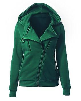 35dcdc61b5725 Yonglan Mujer Cremallera Sudadera con Capucha Chaqueta Corta con Capucha  Estilo Casual Jacket Sportswear Sweatshirt Verde XL  Amazon.es  Deportes y  aire ...