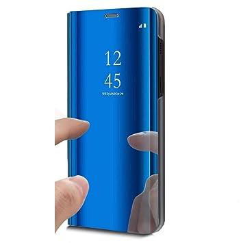 JAWSEU Funda Compatible con Huawei Honor 8X Espejo Libro Flip Soporte Plegable Cierre Magnético Funda Transparente Silicona TPU+PC Duro Completo Protectora ...