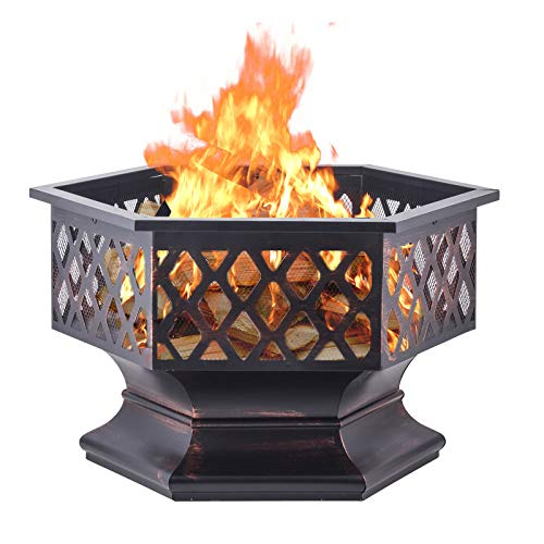 Top 10 Steel Drums For Fire Pits of 2019 | No Place Called ... on Zeny 24 Inch Outdoor Hex Shaped Patio Fire Pit Home Garden Backyard Firepit Bowl Fireplace id=98275