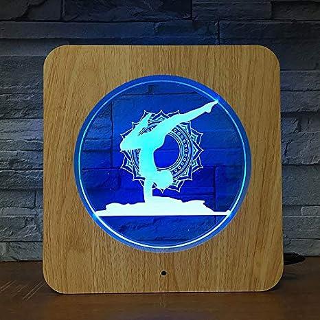 Yoga stand 3D LED plástico luz nocturna DIY lámpara ...