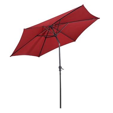 Giantex 9ft Solar Patio Umbrella Sunbrella Without LED Lighted, 6 Ribs Market Steel Tilt w/Crank for Garden, Deck, Backyard, Pool Indoor Outdoor Use, Burgundy