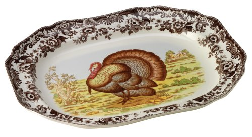 Spode Woodland Turkey Oval Platter 19 inch L x 15-1/2 inch W - Turkey Center