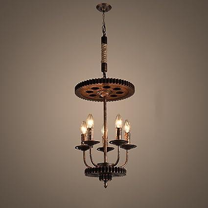 KMYX Luces colgantes de engranajes grandes de hierro 4 luces ...