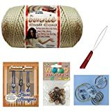 Macrame kit Bundle with Macrame Cord, Wooden Beads, Plant Hanger How to Booklet with Basic Knotting instuctions (Pearl)