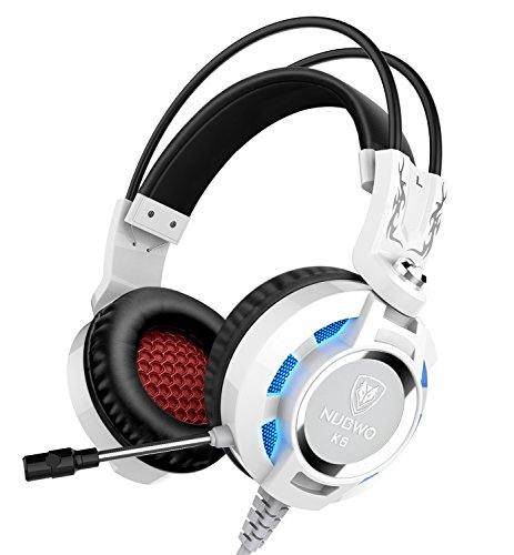 NUBWO Gaming Headphone with Microphone for Pc, Mac, Ps4, Xboxone, Table, Phone White