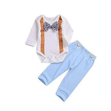 5024b9921141d Printemps Bébé Garçon Gentleman Vêtements Ensemble Nouveau-Né Enfant  Tailleur À Manches Longues Barboteuse Et