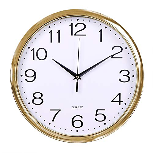 - Fanyuanfds Decorative Wall Clock, 12 inches Silent Non-Ticking Quartz Wall Clock Decorative Indoor Kitchen Clock,Numbers Display,Battery Operated Wall Clock(Gold)