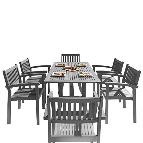 (Vifah V1300SET12 Outdoor Patio 7 Piece Dining Set with Stacking Chairs, Hand-Scraped Wood)