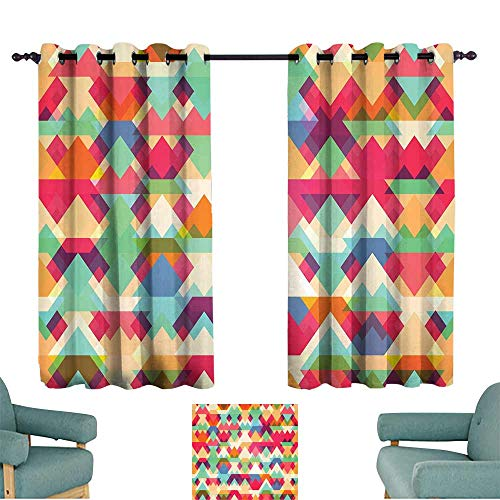 - Warm Family Indie Light Luxury high-end Curtains Abstract Vibrant Colorful Triangles Overlap Geometric Design with Artistic Display Set of Two Panels 72