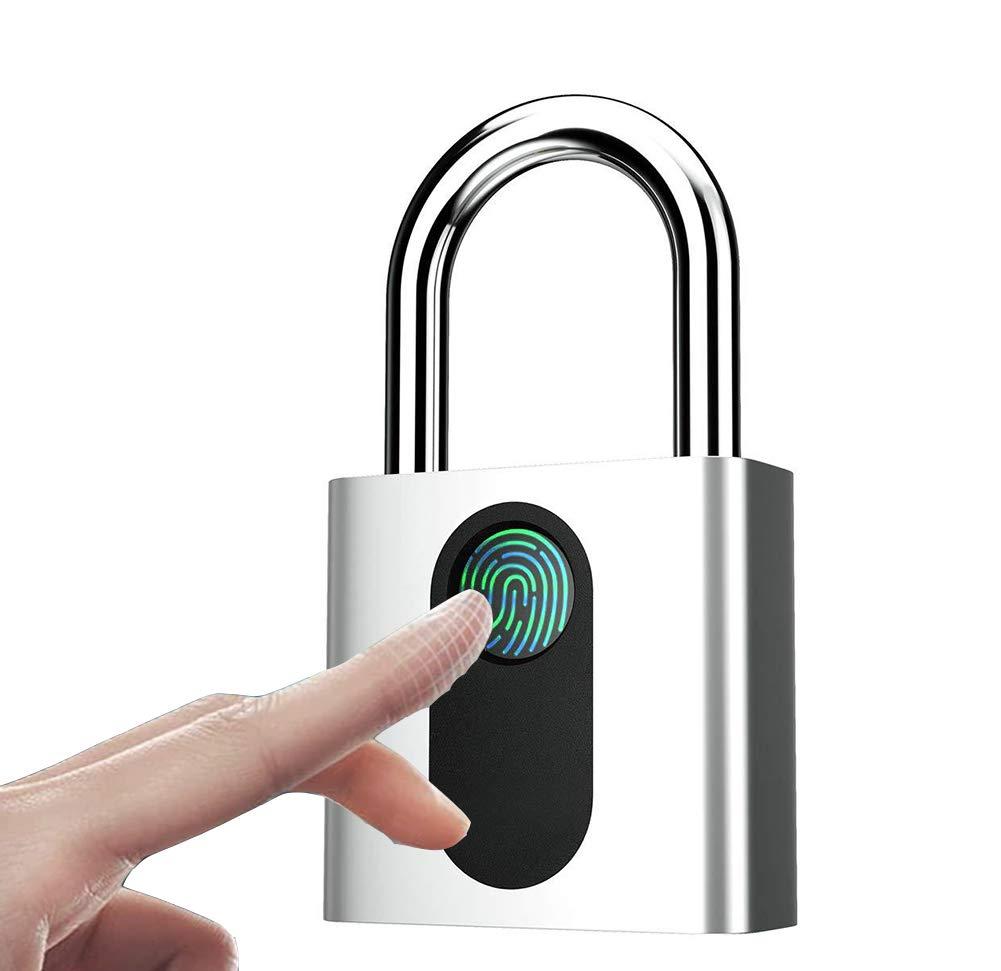 Fingerprint Padlock, Smart Security Lock with USB Charge, IP66 Waterproof Anti-Theft Keyless Padlock Suitable for House Door, Suitcase, Backpack, Gym, Bike, Office by SL Elite