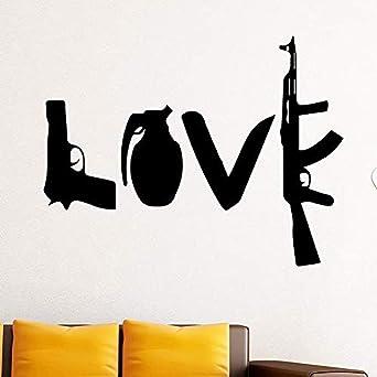 Zykang Pegatinas de pared Creativo Amor Arma Vinilo Pegatinas de ...