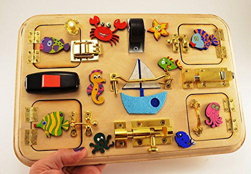 Toy for travel Travel busy board Toy for trip Toddler busy board Latch board Sensory for baby Montesori toy Baby gift Toy for boy