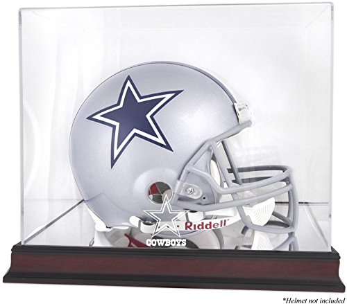 Dallas Cowboys Mahogany Helmet Logo Display Case and Mirror Bottom and Back ()