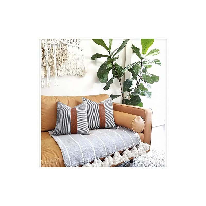 Merrycolor Farmhouse Decorative Throw Pillow Covers 18x18 inch Set of 2 Faux Leather Accent Pillow Boho Modern Decor…