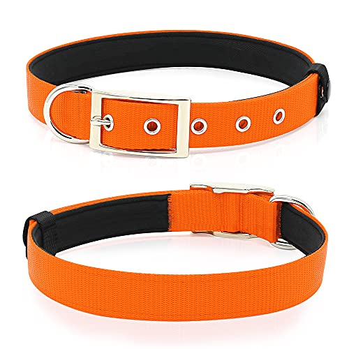 PZRLit Dog Collar-Soft Padded Dog Collars-Adjustable Nylon Thick Puppy Collars for Small Medium Large X-Large Pet Dogs, Orange (Medium)