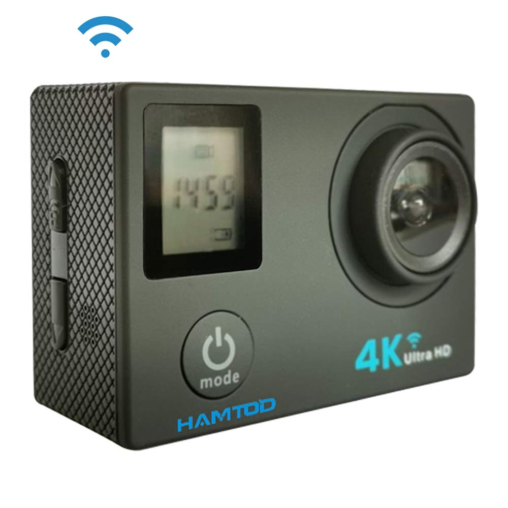 KANEED 30M水中カメラ 防水ケース付き ウェアラブルカメラ WiFi対応 HAMTOD H12 UHD 4K WiFiスポーツカメラ(防水ケース付き)、Generalplus 4247、0.66インチ 2.0インチLCDスクリーン、170度広角レンズ 防犯カメラ (色 : Gold) B07QPSZZT7 Black Black
