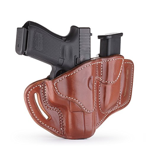 1791 GUNLEATHER Glock 19 Holster - Right Hand OWB G19 Leather Holster for Belts - Fits Glock 19, 23, 26, 27, H&K VP40 and Springfield XDS (BH2.1) (Combo Classic Brown)