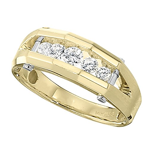 Men's 14k Yellow and White Gold Polished Finish Split Shank Diamond Wedding Band (1/2 cttw, H-I Color, I1-I2 Clarity), Size 9.5 14k Yellow Gold Split Ring