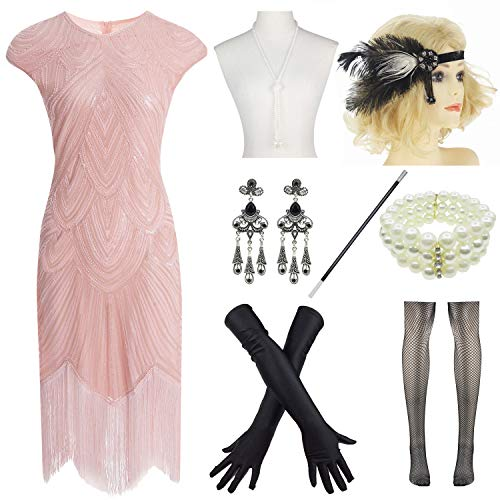 (Women 1920s Vintage Flapper Fringe Beaded Gatsby Party Dress with 20s Accessories Set Pink)