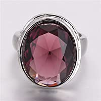 siamsmilethailandshop Upscale 925 Silver Round Color Changing Alexandrite Rings Party Jewelry Size6-10 (9)