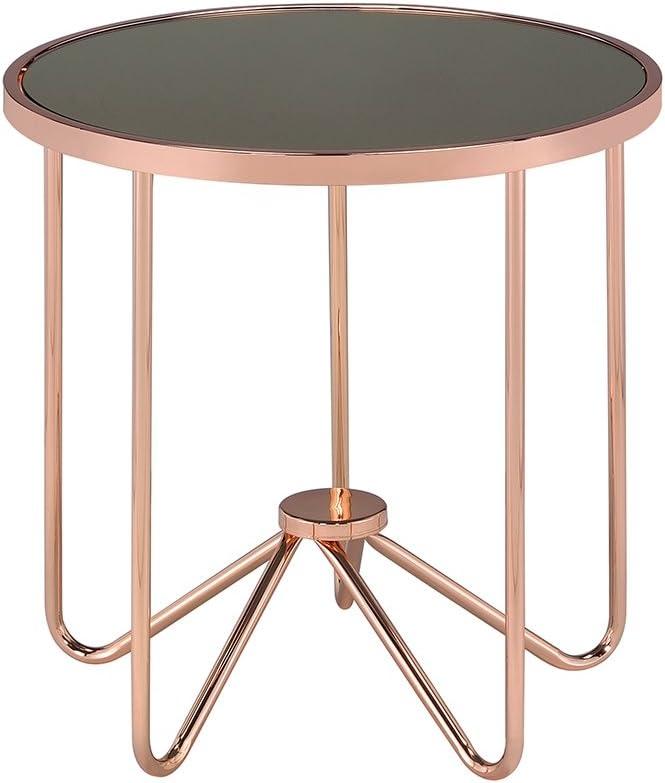 Acme Alivia End Table, Smoky Glass & Rose Gold