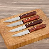 Oster Albright Triple Rivet Wood Steak Knife - Set of 4 (Wood/Stainless Steel)