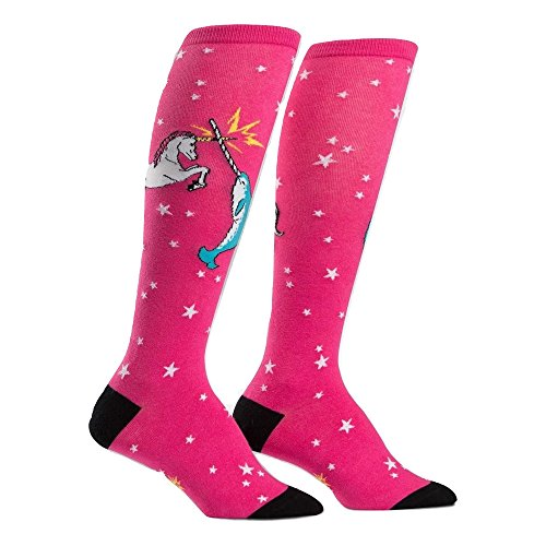 Sock It To Me, Women's Knee Funky: Unicorn vs. Narwhal