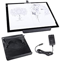 Hakutatz A3 LED 19 Tracing Light Box Drawing Tattoo Board Pad Table Stencil Artist 12V with Rotating Pad and Clip