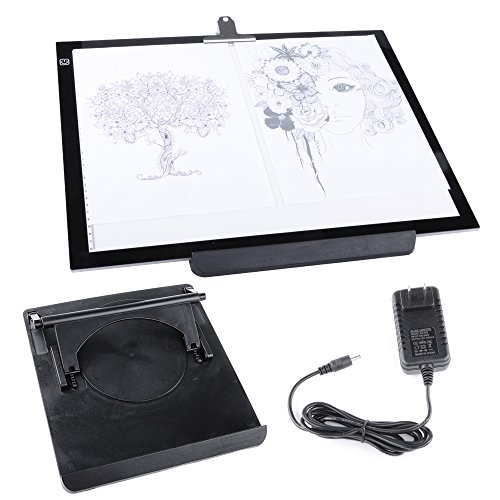 Hakutatz A3 LED 19'' Tracing Light Box Drawing Tattoo Board Pad Table Stencil Artist 12V with Rotating Pad and Clip by Hakutatz