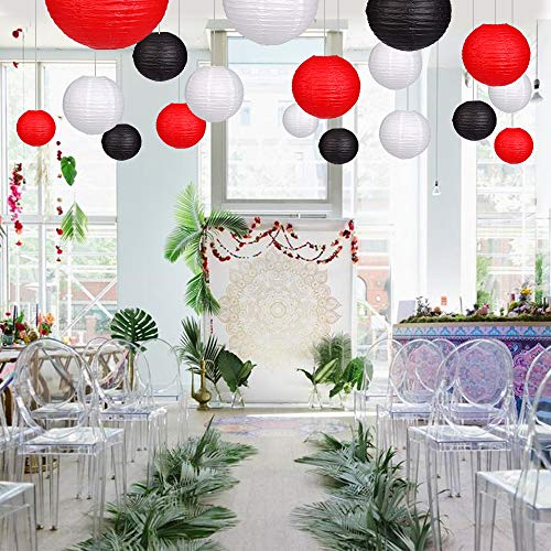 24pcs Round Paper Lanterns for Wedding Birthday Party Baby Showers Decoration Black/Red by Zilue (Image #3)